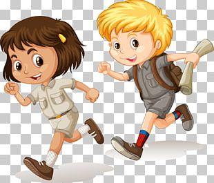 Cartoon Child Running Illustration PNG