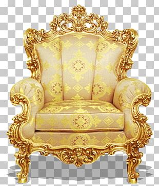 Table Chair Couch Furniture Gold PNG
