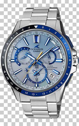Casio Oceanus Watch Blue Clock PNG