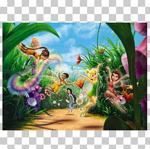 Disney Fairies Tinker Bell Pixie Hollow Mural PNG