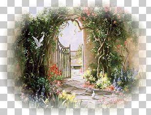 Landscape Watercolor Painting Garden Art PNG