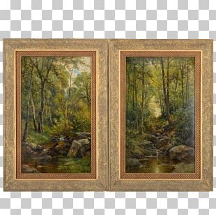 Window Painting Forest Frames Wood PNG