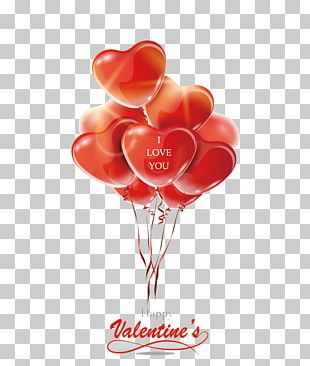 Valentines Day Greeting Card Balloon Heart Red PNG