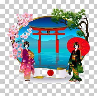 Japan Kimono Geisha Illustration PNG