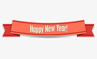 Happy New Year Orange Ribbon PNG