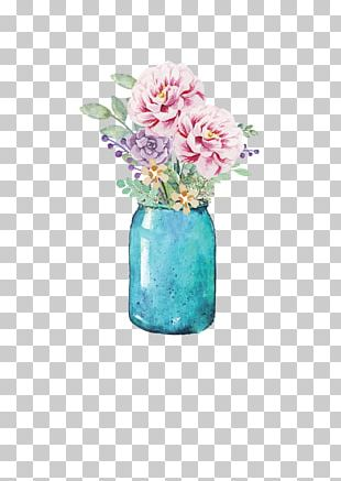 Flower Mason Jar Watercolor Painting Paper PNG