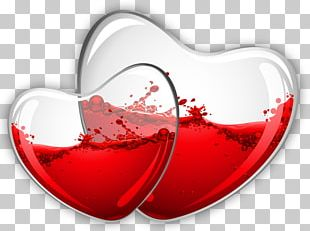 Red Wine Glass Hearts PNG