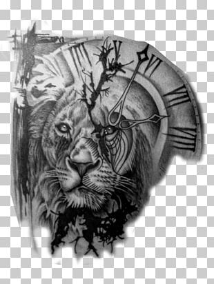 Lion Tattoo Artist Clock Black-and-gray PNG