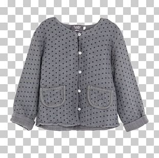 Cardigan Polka Dot Blouse Sleeve Button PNG