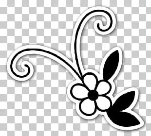 Butterfly Flower Black And White PNG
