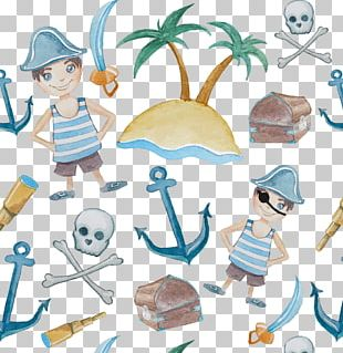 Piracy Watercolor Painting Illustration PNG