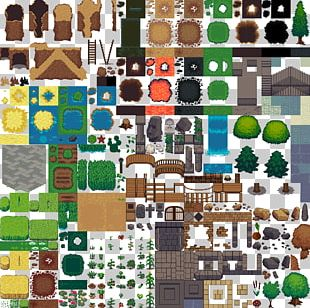 Tile-based Video Game Tiled Sprite Map PNG