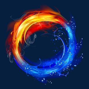 Cool Water And Fire Light Effect Background PNG