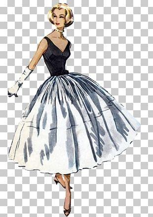 1950s Fashion Dress Vintage Clothing Pattern PNG
