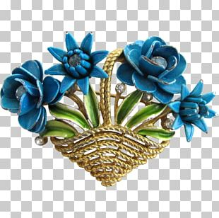 Floral Design Turquoise Cut Flowers Wreath PNG