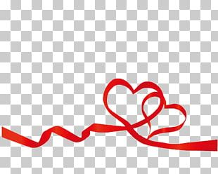Red Ribbon Heart Valentines Day PNG