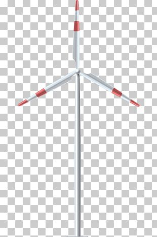 Red White Wind Turbine PNG