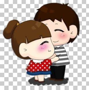 Love Cartoon Couple Hug Illustration PNG