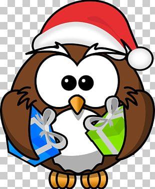 Owl Santa Claus Christmas Cartoon PNG
