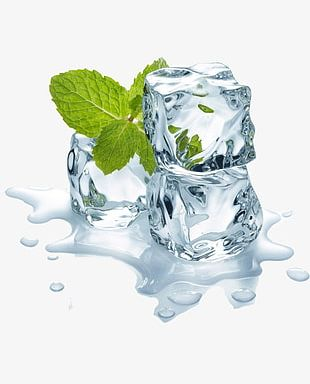 Ice Cubes And Mint Leaves PNG