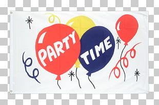 Banner Logo Fahne Party Time Text Flag PNG
