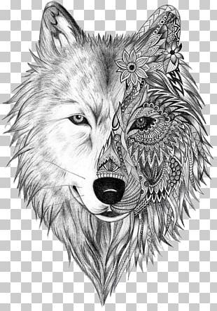 Tattoo Artist Gray Wolf Sleeve Tattoo PNG
