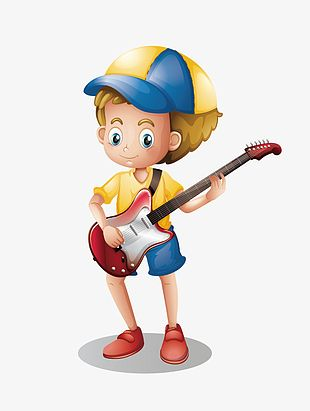 Hand-painted Cartoon Playing Guitar Boy PNG