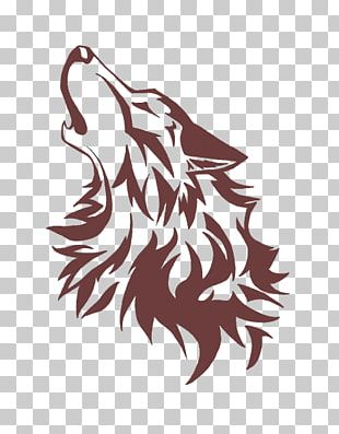 Gray Wolf Art Stencil Drawing PNG