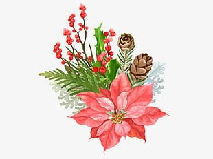 Christmas Decoration With Flowers PNG