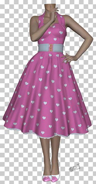 Polka Dot Cocktail Dress Shoulder Party Dress PNG