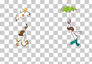 Cartoon Umbrella Rain Illustration PNG