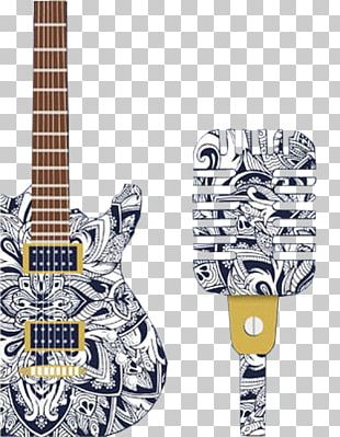 Electric Guitar Microphone Poster PNG