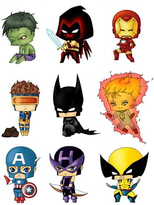 Flash Spider-Man Captain America Chibi Marvel Comics PNG