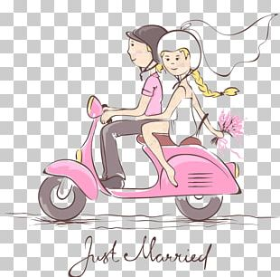 Scooter Wedding Invitation Bridegroom PNG