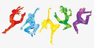 Color Jumping People Collection PNG