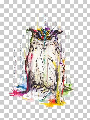 Great Horned Owl Watercolor Painting Art PNG