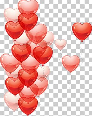 Heart Rain Balloon PNG