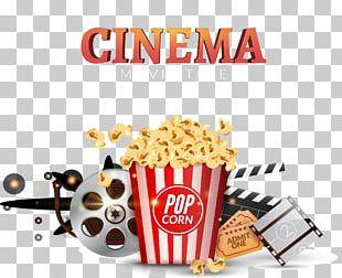 Popcorn Cinema Clapperboard Banner PNG