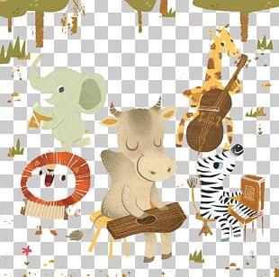 Giraffe Lion Drawing Illustration PNG