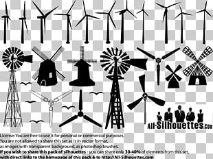 Windmill Silhouette Drawing PNG
