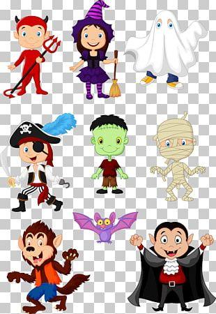 Halloween Cartoon Model Sheet PNG