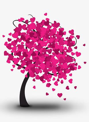 Pink Heart Tree PNG