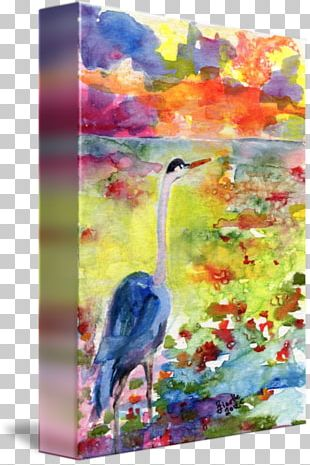 Watercolor Painting Acrylic Paint Heron PNG