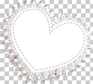 Lace White Heart Motif PNG