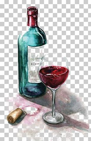 Red Wine Watercolor Painting Wine Glass PNG