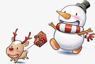 Snowman Christmas Reindeer Pattern PNG
