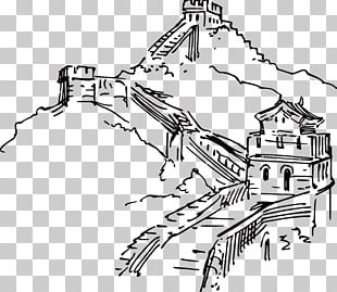 Great Wall Of China Ink Wash Painting Illustration PNG