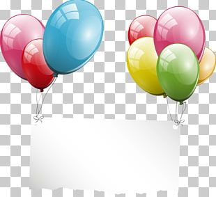 Balloon Party Birthday Greeting Card PNG