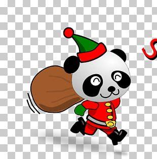 Giant Panda Wedding Invitation Christmas Card Santa Claus PNG