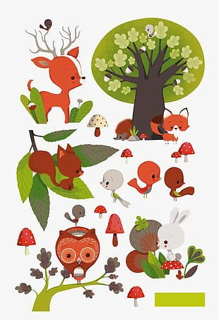 Cartoon Forest Animals PNG